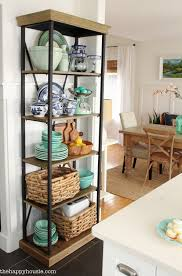 Dish Display Cabinet Using An Etagere Shelf For Kitchen Storage Display The Happy