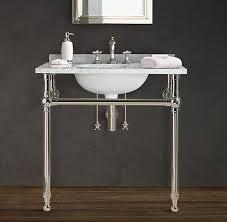restoration hardware gramercy single metal wash stand with backsplash reg 2 095 special 1590