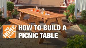Table With Drink Trough How To Build A Picnic Table With Built In Cooler The Home Depot
