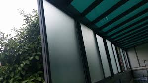 back yard with powder coated aluminium structure polycarbonate shelter and sliding window plus top hanging sliding door