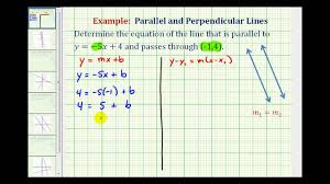 ex 1 find the equation of a line parallel to a given line passing through a given point you