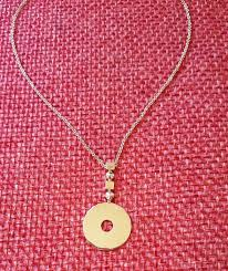 bvlgari yellow gold 18k flat circle disc drop pendant necklace length approx 42cm