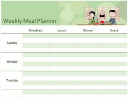 dinner template simple meal planner