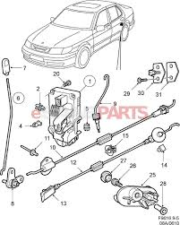 car door lock parts. ESaabParts.com - Saab 9-5 (9600) \u003e Car Body: External Parts Door Lock Rear N