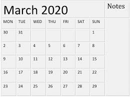 Month Of March Calendar 2020 Free Printable March 2020 Calendar By Month Template Free