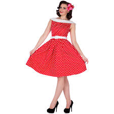Vintage Red Dress With White Polka Dots