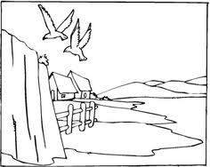 free landscape coloring pages outline artdrawing