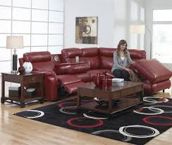 chastain 2 piece red leather storage entertainment reclining sectional by catnapper 4013 r