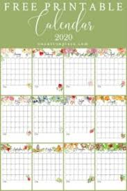 Free Year Calendar 2020 Free Floral 2020 Printable Calendar On Sutton Place