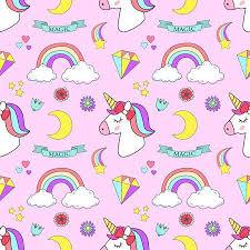 Unicorn Set Magic Design On Pink Background Illustration Royalty