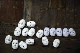 multiple personality disorder dissociative identity disorder 15417632 abstract white masks on wooden background