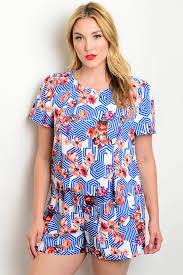 plus size short sets 134 3 4 set8808x blue white with flower plus size top short set 2 2