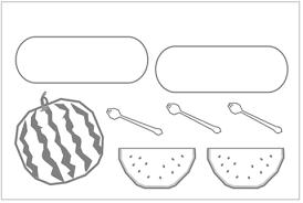 食の折り紙掲示板 7月スイカ