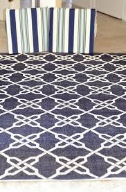 navy blue geometric rug and white