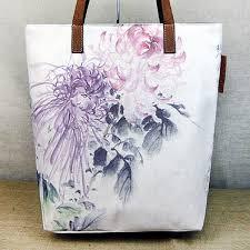 watercolor chrysanthemum fl painting printed canvas tote bags