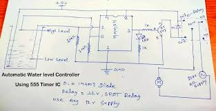 automatic water level controller using transistors or 555 timer ic picture of circuit diagram