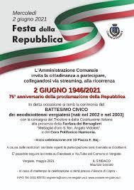 Festa della Repubblica mercoledì 2 giugno 2021 | Sportello Telematico  Unificato