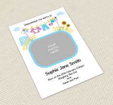 Print Baby Announcement Cards Washing Line Baby Announcements