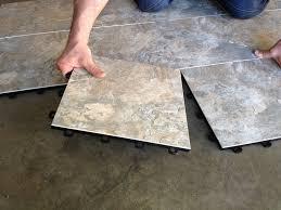 the floor tiles in the basement