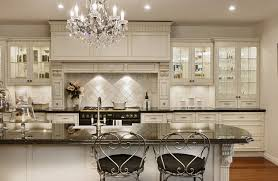 luxury kitchen with antique white cabinets