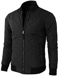H2H Mens Casual Premium Quilted Lightweight Zip up Jacket at ... & H2H Mens Unisex Casual Slim Fit Shiny Metallic Zip Up Stand Collar Jacket  Black US S Adamdwight.com
