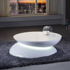 helix coffee table in white high gloss with led light