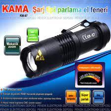 KAMA STAR KM-87 EL FENERİ ZOOM EL FENERİ 18650 PİLLİ GOLD KAMA POWER STYLE  GK 68 BENSU PENDİK Fiyatı ve Özellikleri - GittiGidiyor