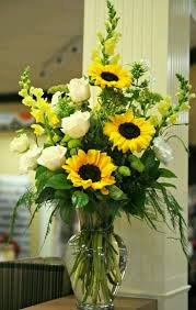 Beautiful Flower arrangement ~ Sunflowers, white roses, yellow  snapdragons, white garden phlox, and lime button mums.