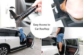 amazon stratomax vehicle hooked on u shaped slam latch doorstep with safety hammer function for easy access to car rooftop roof rack doorstep for car