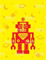 Leuke Robot Kinderkamer Behang Poster Vector Stockvectorkunst En