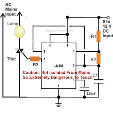 simple ic 555 ac mains lamp flasher circuit diagram image