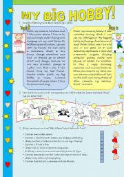 english teaching worksheets hobbies english worksheets my big hobby reading comprehension