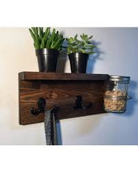 Dog leash holder with shelf, entryway storage, wood key holder, wall key  rack