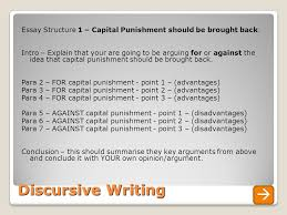 discursive writing a guide to unit overview today s learning  discursive writing essay structure 1 capital punishment should be brought back intro explain
