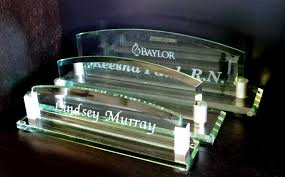 personalized desk name plates from crystal images inc with glass desk name plates