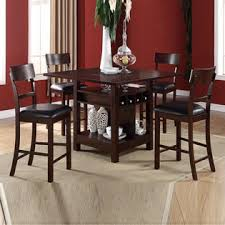 dining table set with lazy susan. poundex 5 pc modern rosy espresso lazy susan wine storage counter height dining table set with