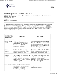 Homebuyer Tax Credit Chart Federal Vs State