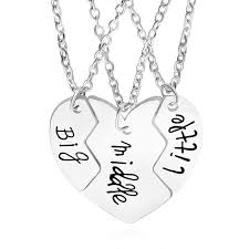 whole 3 best friend big middle little sister necklaces joint broken heart pendant necklace for women girls jewelry drop ship 161558 gold charms heart
