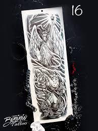 временная татуировка рукав ангел песочные часы свобода