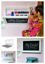 this do it yourself kids desk folds up to become a wall chalkboard s art supplies and even a paper roll holder super easy step by step instructions