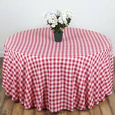 linentablecloth 90 inch round polyester tablecloth red white checker