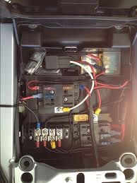 fuse block and electrical question yamaha fjr forum yamaha fjr 10 ga from battery to fuse box along the right side 1 fuse box is hot all the time and the other is switched