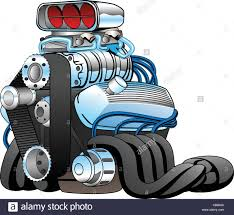 Race Car Engine Design Hot Rod Race Car Engine Cartoon Vector Illustration Stock