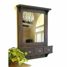wood wall mirror brown wall mirror with drawers and hooks decorative wall mirrors wood frame