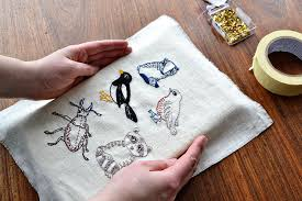 make sure that your design is positioned exactly how you want it to be then fold over the excess fabric to the back and flip the frame with your embroidery