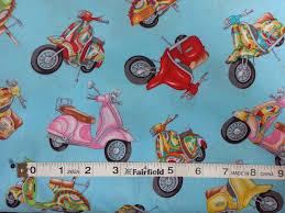 100% cotton Quilting fabric by the 1/2 yard motorcycle motorbike ... & 100% cotton Quilting fabric by the 1/2 yard motorcycle motorbike scooter  vespa HD touring biking Adamdwight.com