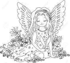 ウサギと花のかわいい天使挿絵のぬりえデジタルのスタンプです