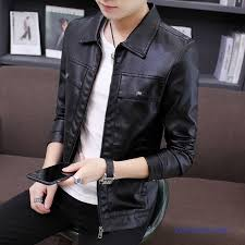 leather jacket men new trend wallet skinny casual lapel black
