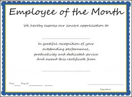 Printable Employee Of The Month Certificates Award Templates Employee Of The Month Certificate Template