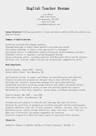 Cover Letter Resume Samples English Teacher Resume Sample Resume Of